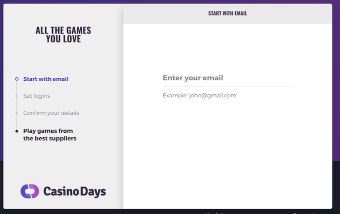 Register with CasinoDays