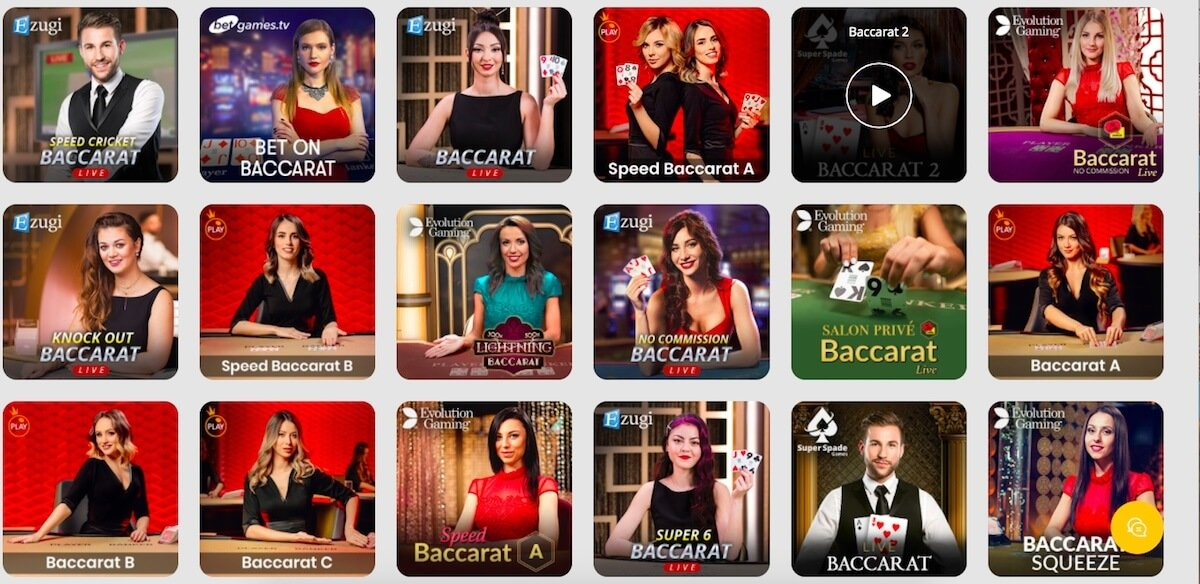 Live Baccarat games at 10Cric Casino