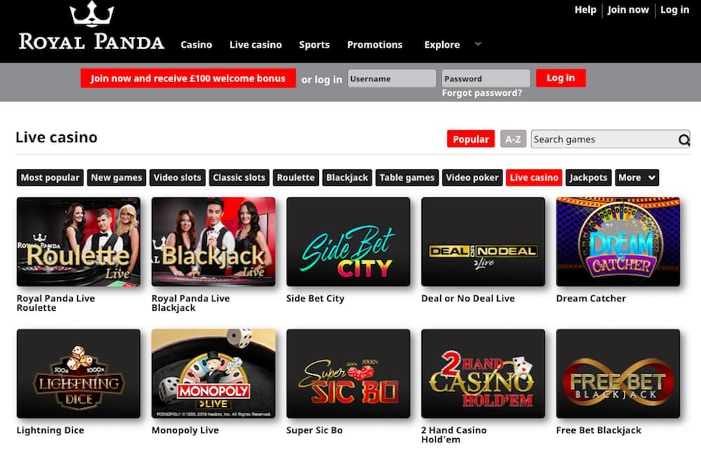 Royal Panda casino - live casino