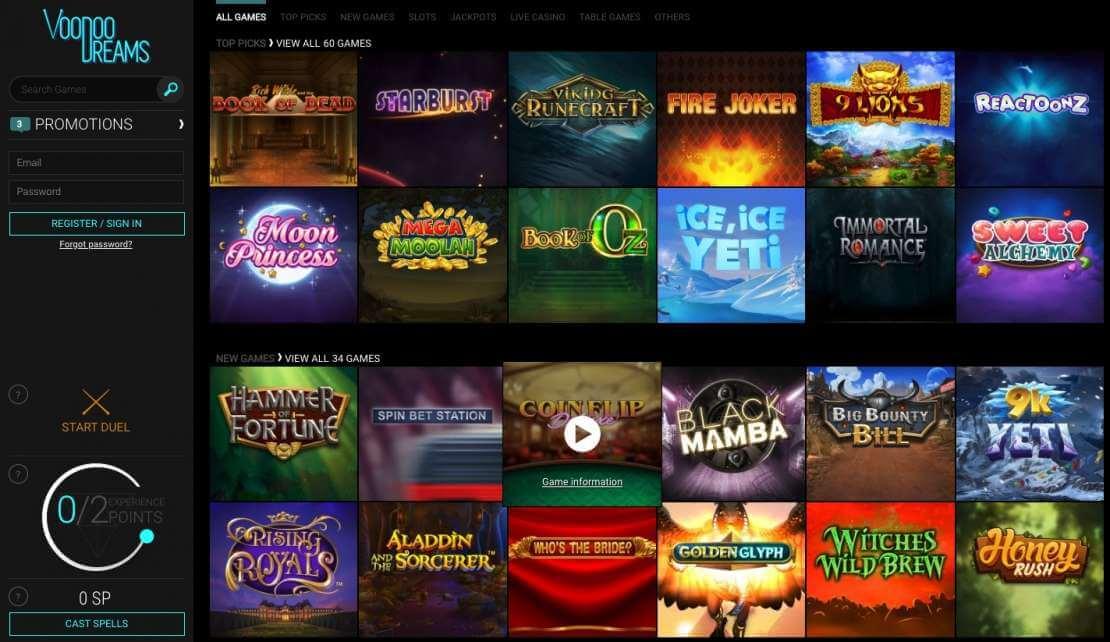 voodoocasino review - online games